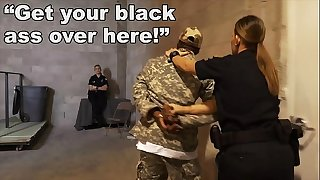 BLACK PATROL - Fake Soldier Gets Used As A Black Fuck Toy By White Cops