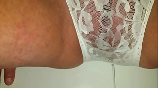 Pissing my lacy white panties