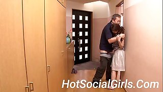 HotSocialGirls.Com - Old Guy Force Chesty Japanese Housewife to Butt-cheeks
